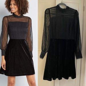 Modcloth Chiffon and Velvet Dress - Size 6